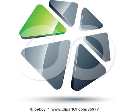 Clipart Illustration of a Pre-Made Logo Of A Circle Of Green And Silver Triangles by beboy