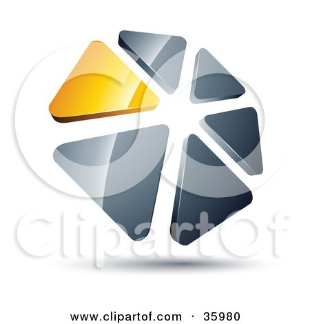 Clipart Illustration of a Pre-Made Logo Of A Circle Of Yellow And Silver Triangles by beboy