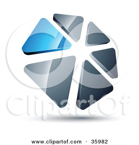 Clipart Illustration of a Pre-Made Logo Of A Circle Of Blue And Silver Triangles by beboy
