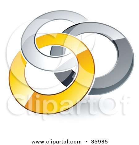 Clipart Illustration of a Pre-Made Logo Of Silver, Gray And Yellow Rings Entwined by beboy