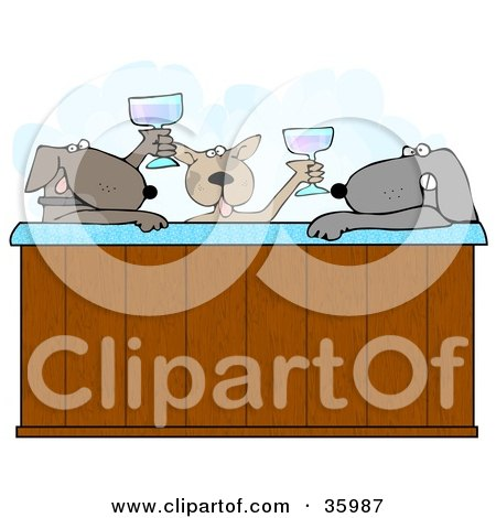 Clipart Illustration of Three Relaxed Dogs Drinking Champagne And Soaking In A Steamy Hot Tub by djart