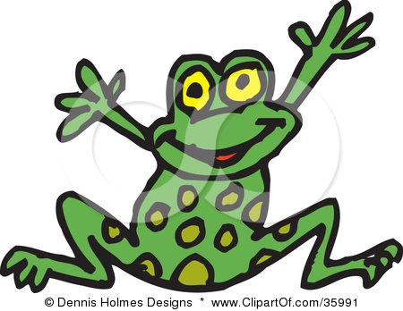 Clipart Illustration of a Happy Spotted Green Frog Leaping by Dennis Holmes Designs