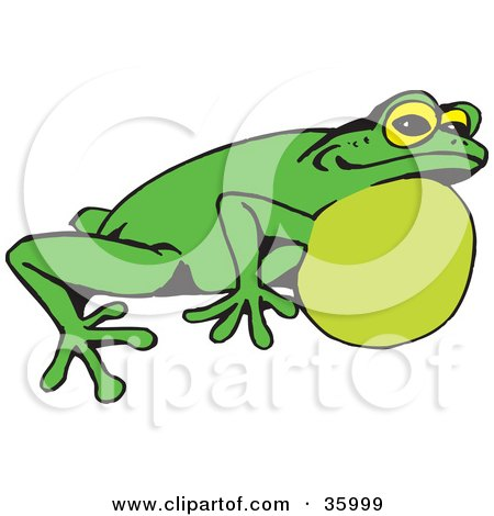 Clipart Illustration of a Green Frog With Air In His Throat by Dennis Holmes Designs