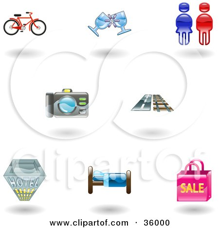 Clipart Illustration of a Set Of Nine Shiny Travel and Lodging Icons by AtStockIllustration