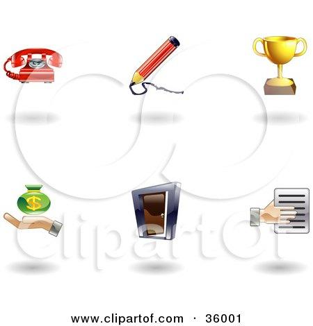 Clipart Illustration of a Set Of Nine Shiny Business Icons by AtStockIllustration