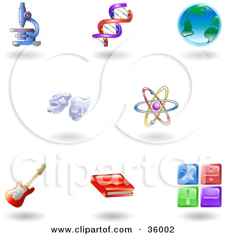 Clipart Illustration of a Set Of Nine Shiny Science, Education And Entertainment Icons by AtStockIllustration