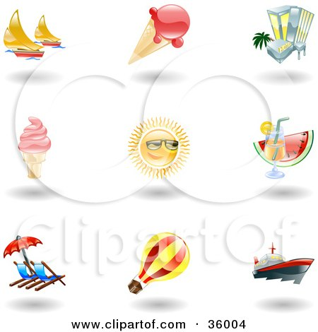 Clipart Illustration of a Set Of Nine Shiny Summer Travel Icons by AtStockIllustration