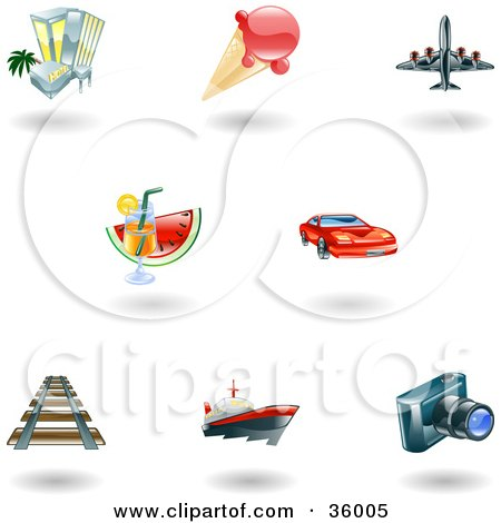 Clipart Illustration of a Set Of Nine Shiny Vacation, Travel and Lodging Icons by AtStockIllustration