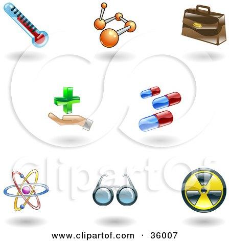 Clipart Illustration of a Set Of Nine Shiny Medical Icons by AtStockIllustration