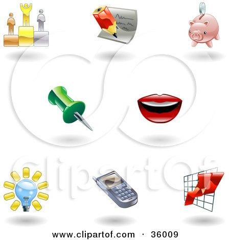 Clipart Illustration of a Set Of Nine Shiny Office Icons by AtStockIllustration