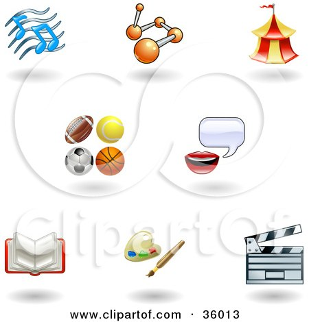 Clipart Illustration of a Set Of Nine Shiny Entertainment, Arts And Sports Icons by AtStockIllustration