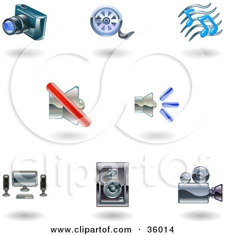 Clipart Illustration of a Set Of Nine Shiny Media Icons by AtStockIllustration