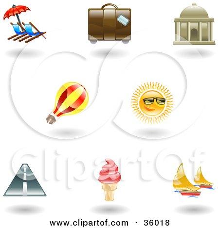 Clipart Illustration of a Set Of Nine Shiny Vacation Icons by AtStockIllustration