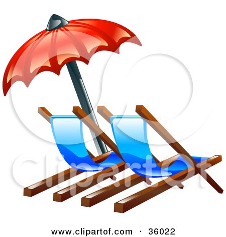 Clipart Illustration of a Red Umbrella Over Two Beach Lounge Chairs by AtStockIllustration
