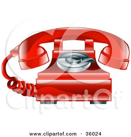 Clipart Illustration of a Shiny Red Old Fashioned Landline Telephone by AtStockIllustration