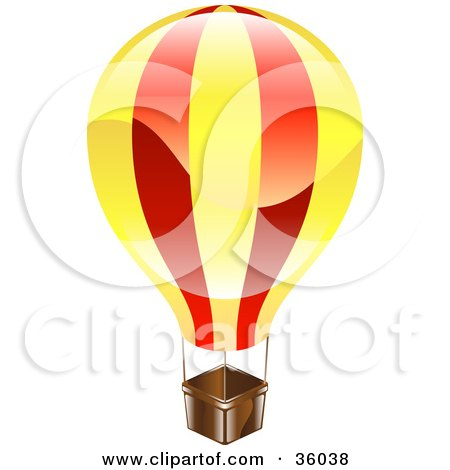 Clipart Illustration of a Shiny Red And Yellow Hot Air Balloon by AtStockIllustration