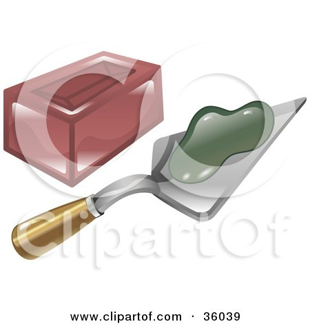 Clipart Illustration Of Green Mortar On A Trowel Beside A Brick