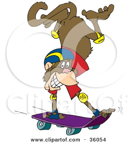 Grinning Monkey Doing A Handstand While Skateboarding Posters, Art Prints