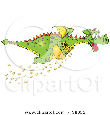 Clipart Illustration of a Green Dragon With Purple Spots, Stealing A Pot Of Gold Coins, Some Falling As He Flies Away by Dennis Holmes Designs
