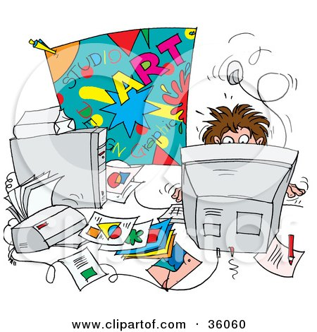 Clipart Illustration of a Busy Man Working Behind A ...