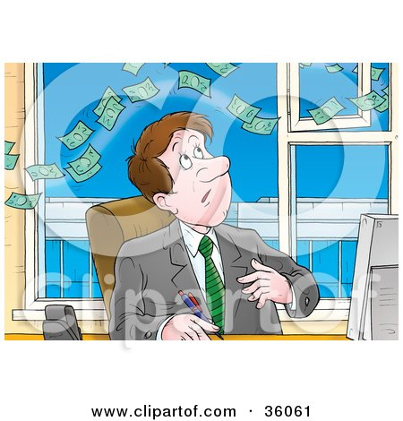 Clipart Illustration of Money Floating Above A Businessman At His Desk by Alex Bannykh