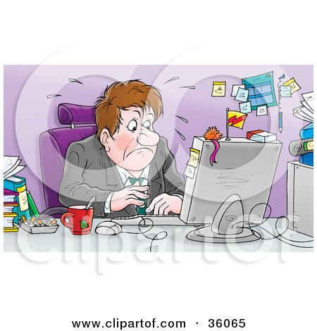 Clipart Illustration of a Nervous Businessman Sweating While Viewing His Financial Reports At His Desk by Alex Bannykh