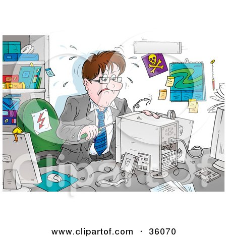 Stressed Businessman Trying To Assemble A Computer In His Office Posters, Art Prints