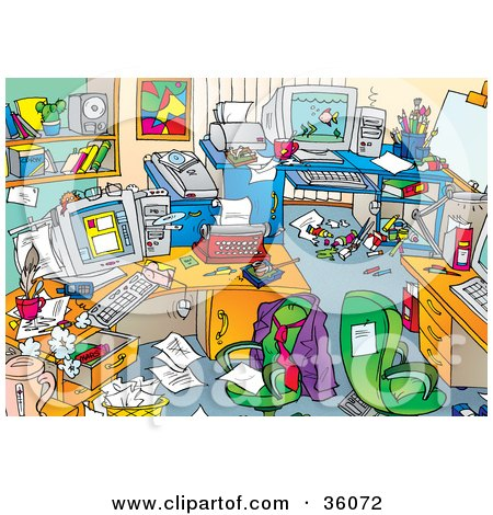 Clipart Illustration of a Very Messy Office With Clutter And A Nude Magazine On The Desks And Floors by Alex Bannykh