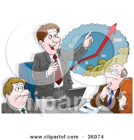 Clipart Illustration of a Hopeful Businessman Discussing Rising Profits With Investors by Alex Bannykh