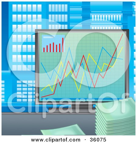 Clipart Illustration of a Colorful Financial Chart On A Computer Screen In A Skyscraper Office by Alex Bannykh