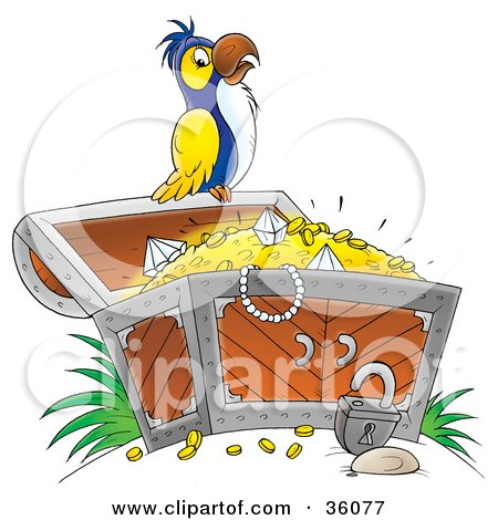 Clipart Illustration of a White, Yellow And Blue Parrot Perched On An Open Treasure Chest Full Of Jewels And Gold by Alex Bannykh