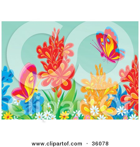 Clipart Illustration of Colorful Butterflies Exploring In A Flower ...