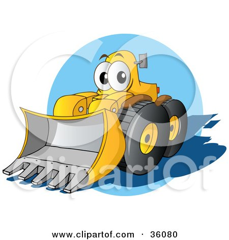 Clipart Illustration of a Friendly Yellow Bulldozer Character With A Loader Moving Forward by Holger Bogen