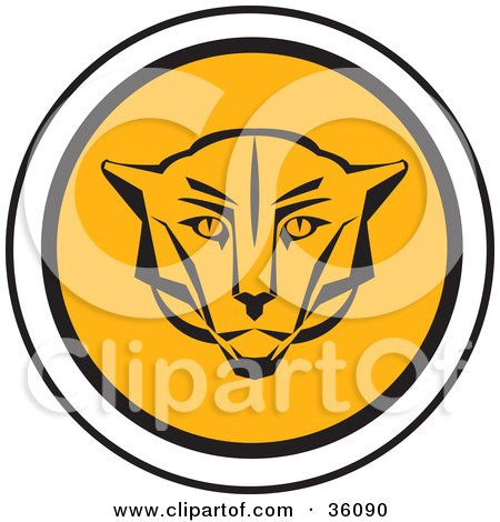 Clipart Illustration of a Round Cougar Face Icon by Eugene