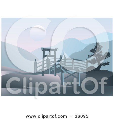 Clipart Illustration Of An Asian Footbridge Spanning Through Hills With A Full Moon Over Mountains
