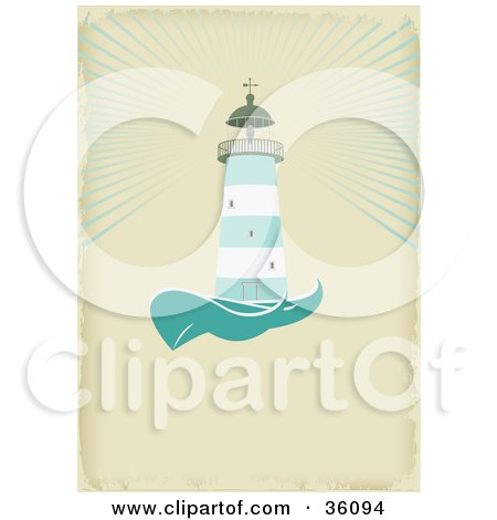 Clipart Illustration of a Green And White Lighthouse Casting Light Over The Sea, On An Aged Beige Background With Space For Text by Eugene
