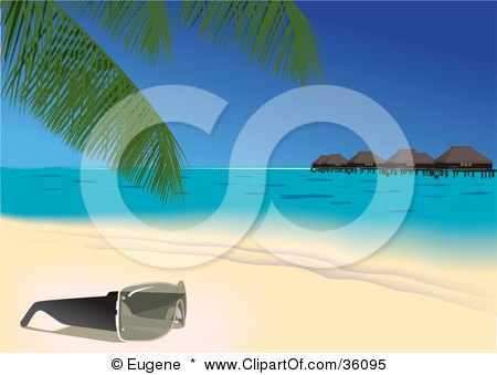 Clipart Illustration of a Pair Of Sunglasses Resting Under A Palm Tree On A Tropical Sandy Beach, With Huts On The Water In The Background by Eugene