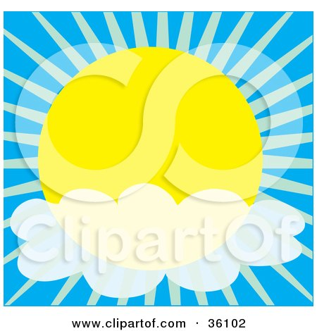 Clipart Illustration of a Cloud In Front Of A Sun In The Sky by Maria Bell