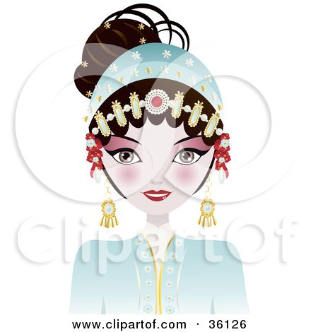Clipart Illustration of a Beautiful Opera Chinese Woman In A Blue Costume, With Her Hair Up And Adorned In Jewelry by Melisende Vector