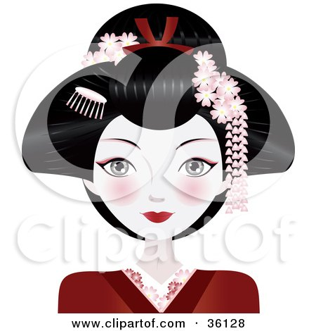 Clipart Illustration of a Beautiful Asian Geisha Woman Wither Her Hair Up, Wearing A Red Kimono by Melisende Vector
