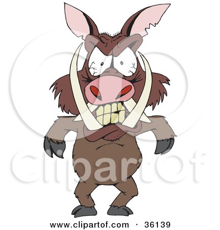 Clipart Illustration of a Mad Boar With Tusks And Blood Shot Eyes, Standing And Throwing A Temper Tantrum by Dennis Holmes Designs