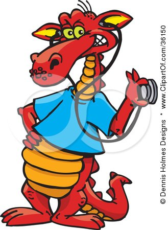 Clipart Illustration of a Red Doctor Dragon In A Blue Shirt, Holding A Stethoscope To An Invisible Item by Dennis Holmes Designs