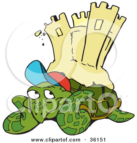Clipart Illustration of a Relaxed Sea Turtle Resting On A Beach, A Sand Castle On His Back by Dennis Holmes Designs