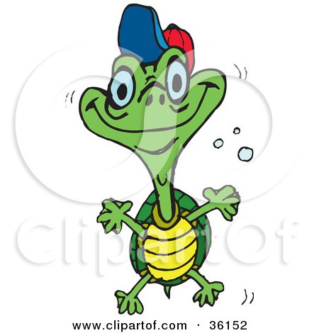 Clipart Illustration of a Happy Teen Turtle With A Hat On, Swimming Through Bubbles by Dennis Holmes Designs