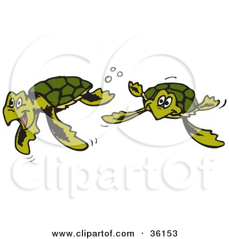 Clipart Illustration of Two Happy Green Sea Turtles Swimming Underwater by Dennis Holmes Designs