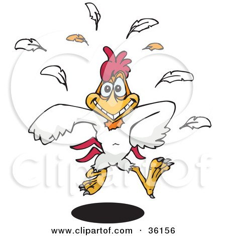 Clipart Illustration of a Happy White Rooster Running Forward, Feathers Falling Behind by Dennis Holmes Designs
