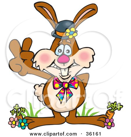 Clipart Illustration of a Bunny Rabbit Standing In Flowers And Carrots, Gesturing A Peace Sign by Dennis Holmes Designs