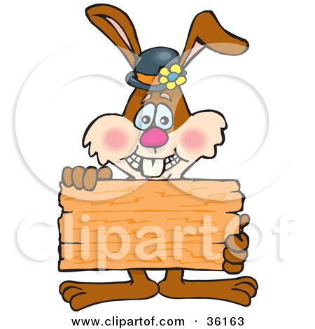 Bunny Rabbit Holding Up A Blank Wooden Plaque Or Sign, Ready For Your Text Posters, Art Prints