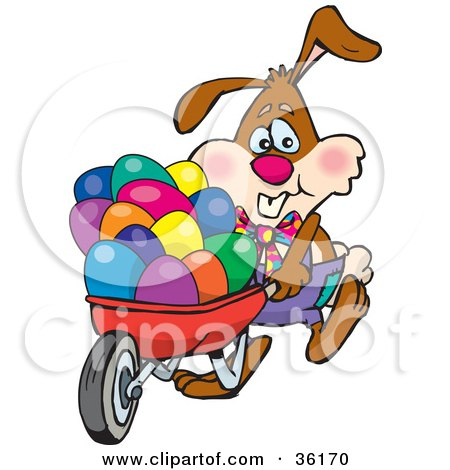 Clipart Illustration of a Bunny Rabbit Pushing Colorful Easter Eggs In A Red Wheelbarrow by Dennis Holmes Designs