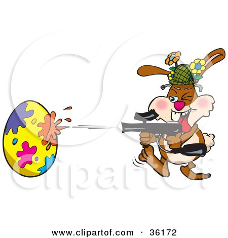 Clipart Illustration of a Bunny Rabbit Having A Blast While Decorating An Easter Egg With A Paintball Gun by Dennis Holmes Designs